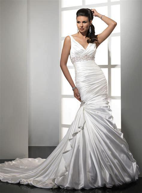 satin mermaid v neckline wedding dress   Do it   Pinterest
