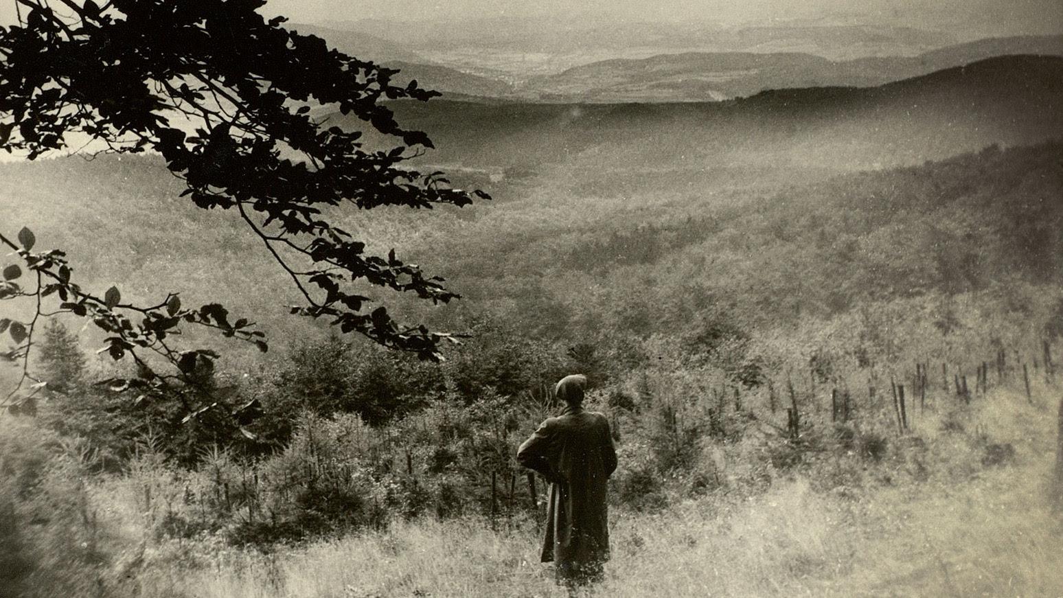 Jürgen von der Wense in the Kaufungen Forest, North Hesse, Germany, circa 1953. Photograph from the archive of Heddy Esche.