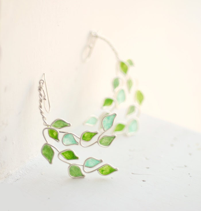 Lime Grove Tree Earrings, Citrus Green, Sterling Silver, Dangle.... - TaylorsEclectic