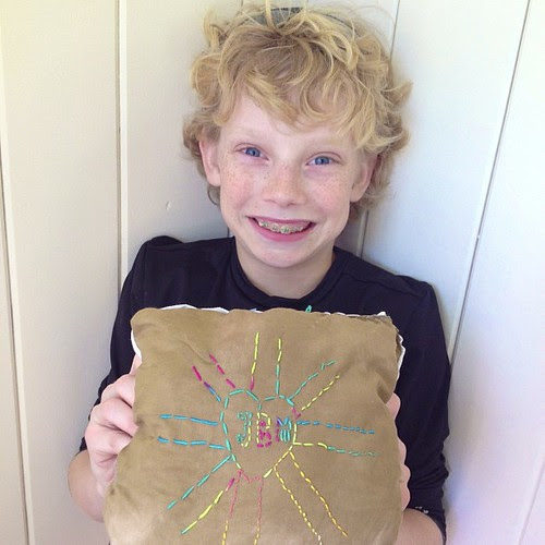 Micaiah's Mothers Day gift...a handmade pillow. #1000gifts