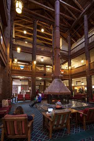Many Glacier HotelThe lobby was the place to hang out.  Most of the time it was filled with people (this was 7:30 in the morning) because it was the only place to get a wifi signal.  Those columns are tree trunks.