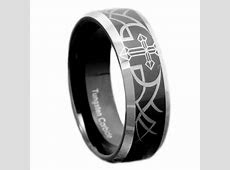 8mm Tungsten Black Mirror Top Bevel Edge Christian Cross Etch Men's Wedding Band   eBay