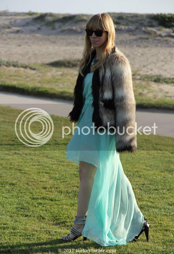 Lanvin for H&M faux fur coat, Love aqua chiffon dress, Jeffrey Campbell Mel heels, California fashion blog, Los Angeles street style
