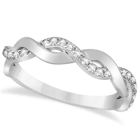 Diamond Twisted Infinity Wedding Ring Band 14k White Gold