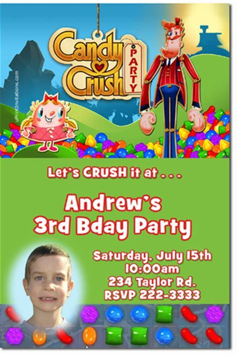 Candy Land Birthday Invitations, Candyland and Candy Crush