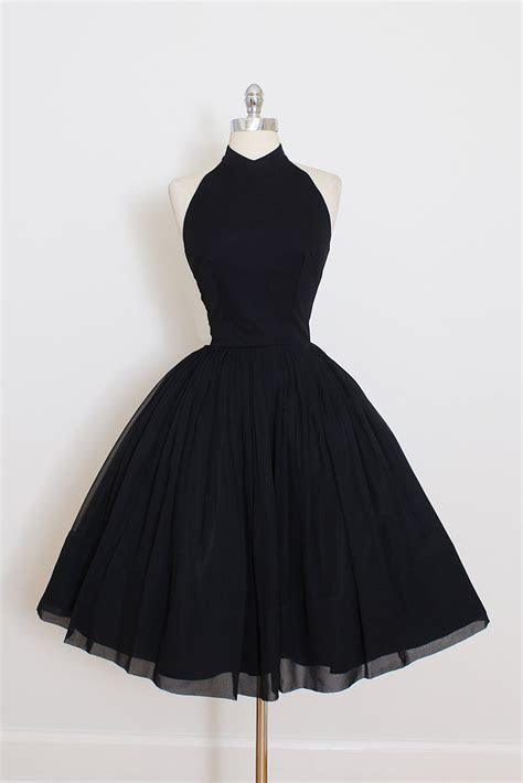 Vintage Little Black Dress, Short Black Halter Prom Dress