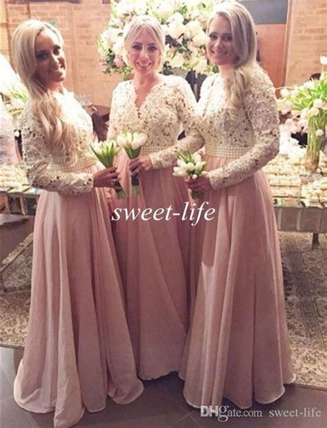 Blush Long Sleeves Bridesmaid Dresses Cream Lace Chiffon
