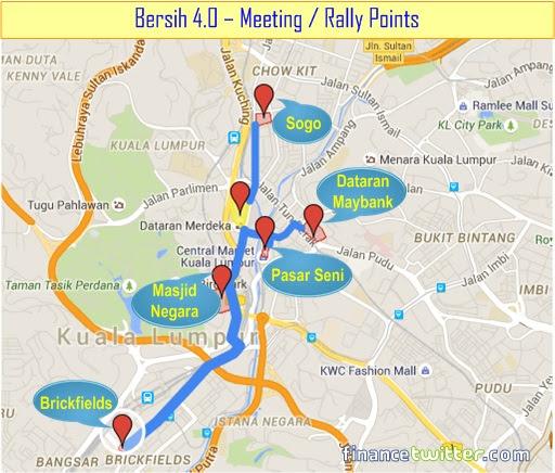 Bersih 4.0 - Meeting or Rally Points