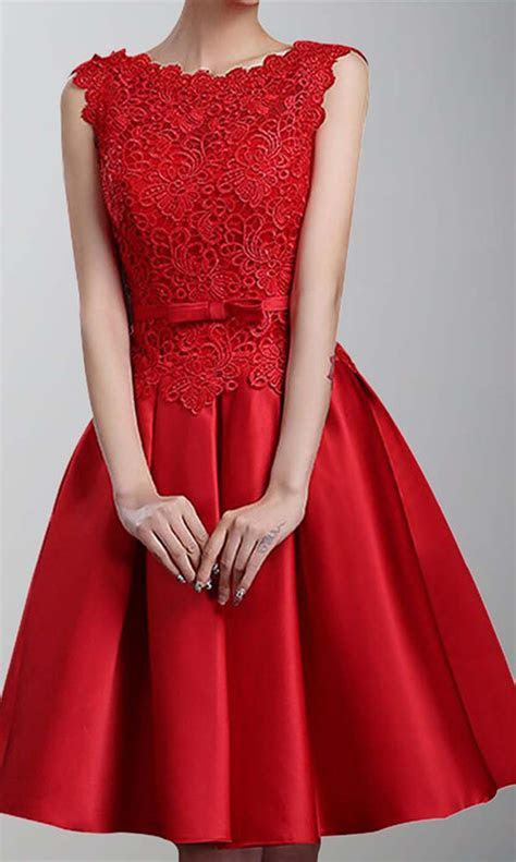 Short Red Bridesmaid Dress Oblong Neckline KSP430 [KSP430