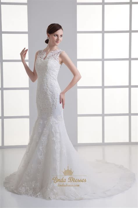 Ivory Mermaid Lace Illusion Neckline Wedding Dress For