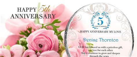 Custom Engraved Crystal 5th Wedding Anniversary Gifts