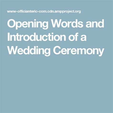 Opening Words and Introduction   wedding officiant ideas