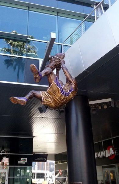 Shaq's new bronze statue at STAPLES Center in Los Angeles...on March 29, 2017.