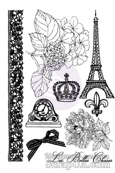 Набор резиновых штампов от  Prima - Cling Mount Stamps En Francais - ScrapUA.com