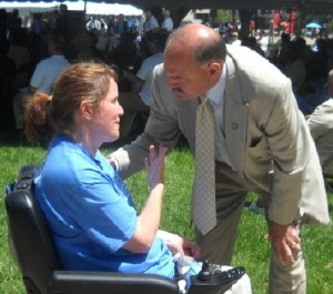 Jennifer followed up with Sen. Gleason after he spoke to the more  than 600 OMD participants to thank him for supporting the Waiver  program.