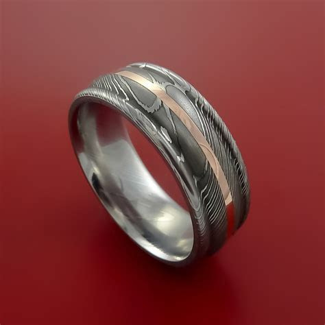 Damascus Steel 14K Rose Gold Ring Wedding Band