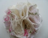 Pink Floral and Lace Flower Brooch - Cake Topper - Hat Pin