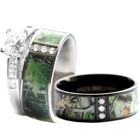 His & Hers STAINLESS STEEL Camo, 925 SILVER Engagement