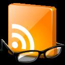 eyeglasses underneath orange RSS chiclet icon