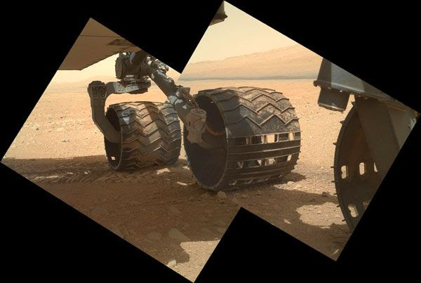 A MAHLI image of three of the Curiosity rover's six wheels, taken on September 9, 2012.