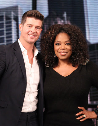Robin Thicke and Oprah Winfrey