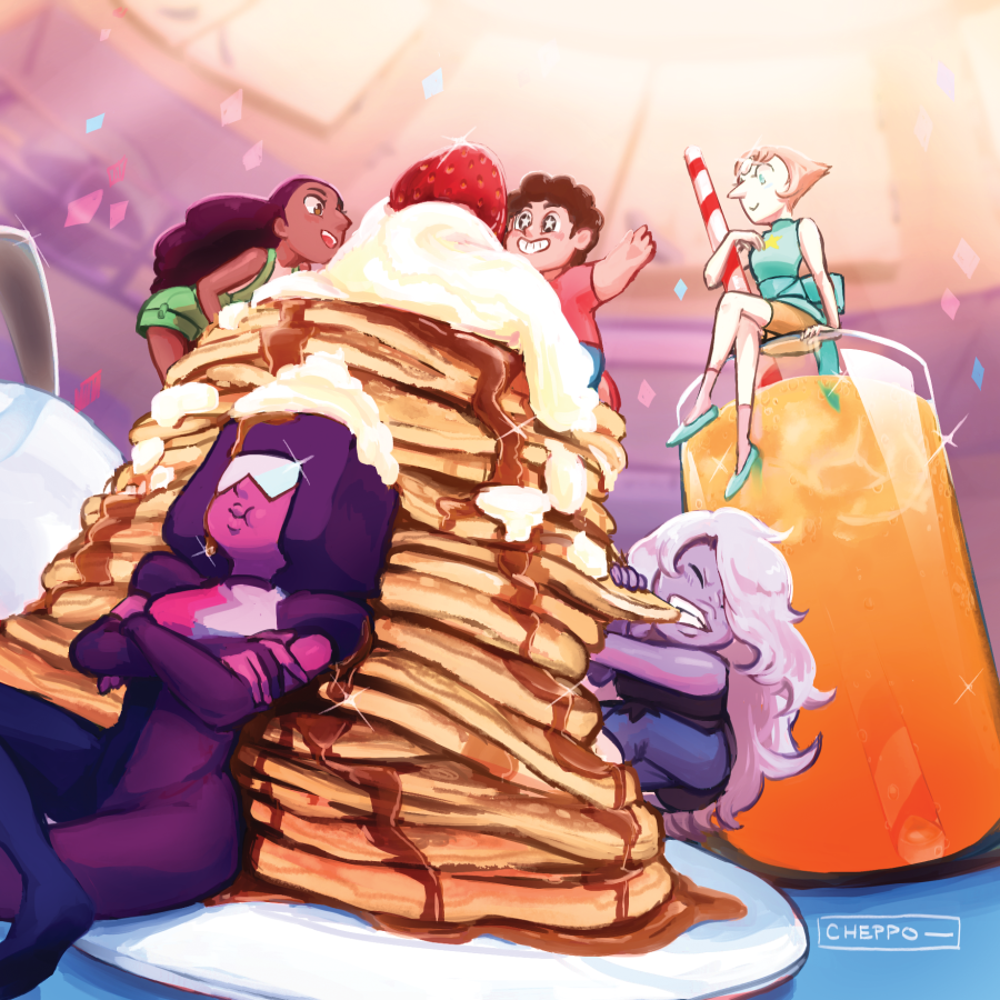 just put up a speedpaint video of my old SU together breakfast painting! sorry it's super jumpy……i canvas flip a lot, and this was sped to about 65x the speed ;;;