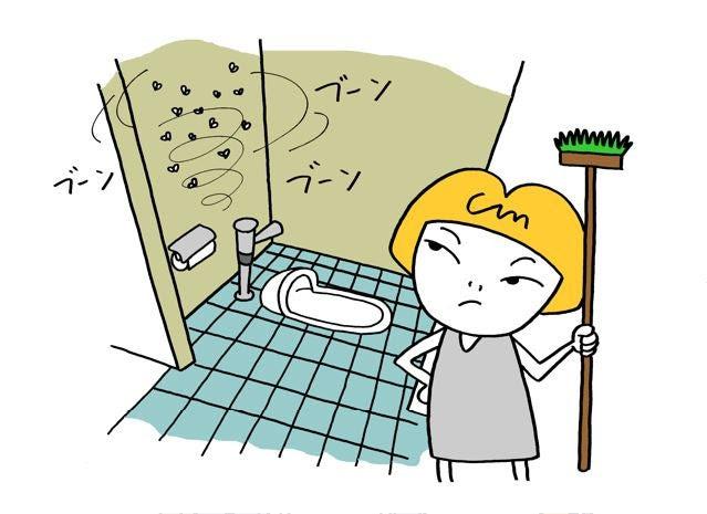 学校のトイレ掃除 Papaの家族絵日記