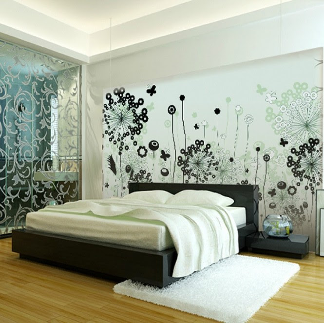 A decal is a fabulously quick way to form an extension of the headboard in the bedroom, creating a larger vignette for extra impact.