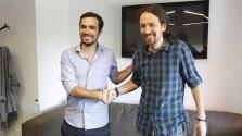 Pablo Iglesias y Alberto Garzón durante las conversaciones. EUROPA PRESS
