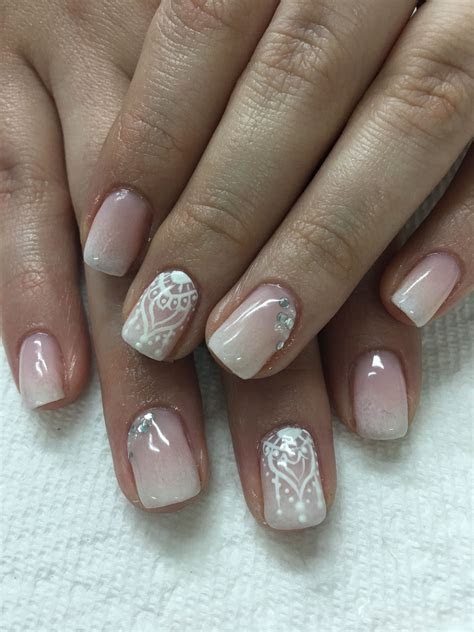 Bridal Honeymoon Hand Painted OPI Bubble Bath Ombré French