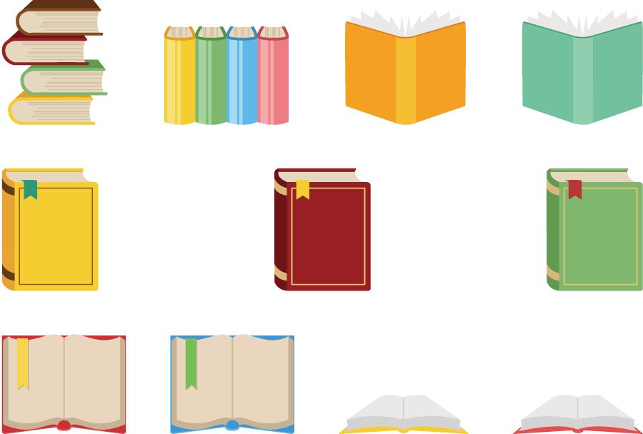 フリーイラスト 11種類の本のセットでアハ体験 Gahag 著作権フリー