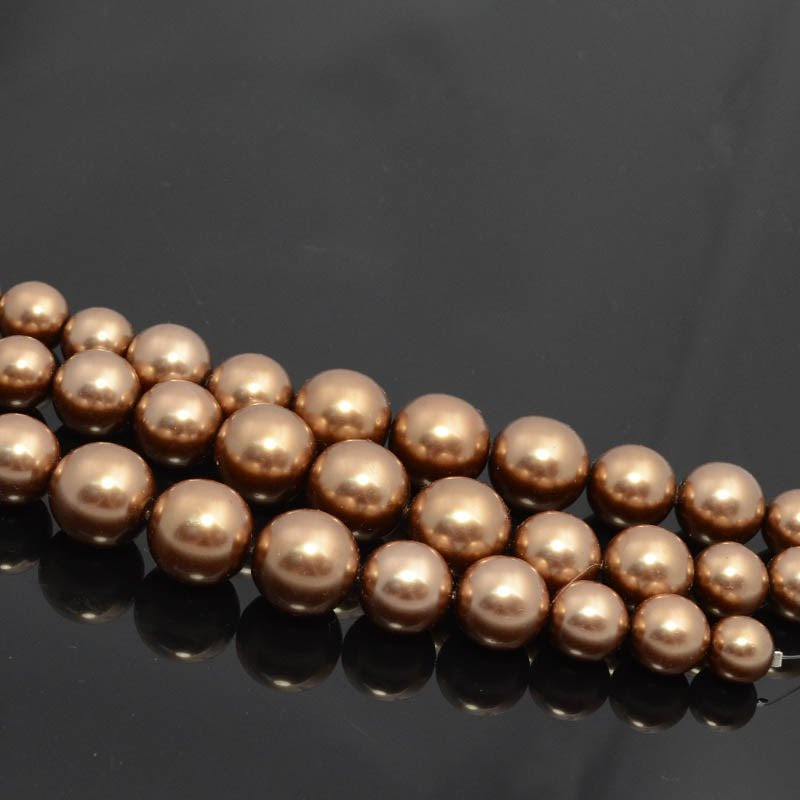 18088109-09 Glass Pearls - 10-16 mm Graduated Rounds - Bronze (Strand)