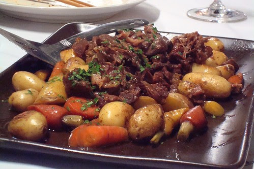 Soy Braised Beef Cheeks and Oxtails, Baby Carrots and Fingerling Potatos, OB Beer and Dejang Demi