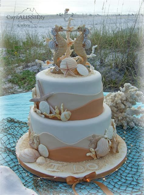 'sea Horse' Beach Theme Wedding Cake   CakeCentral.com