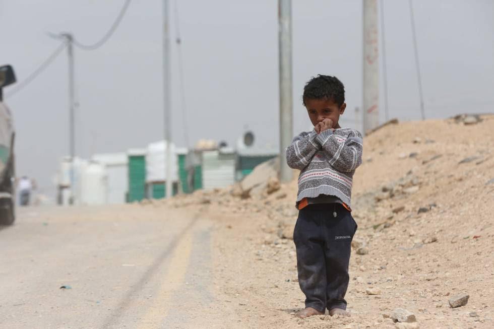 Un niño en el campo de refugiados de Zaatari, en Jordania, el pasado marzo.