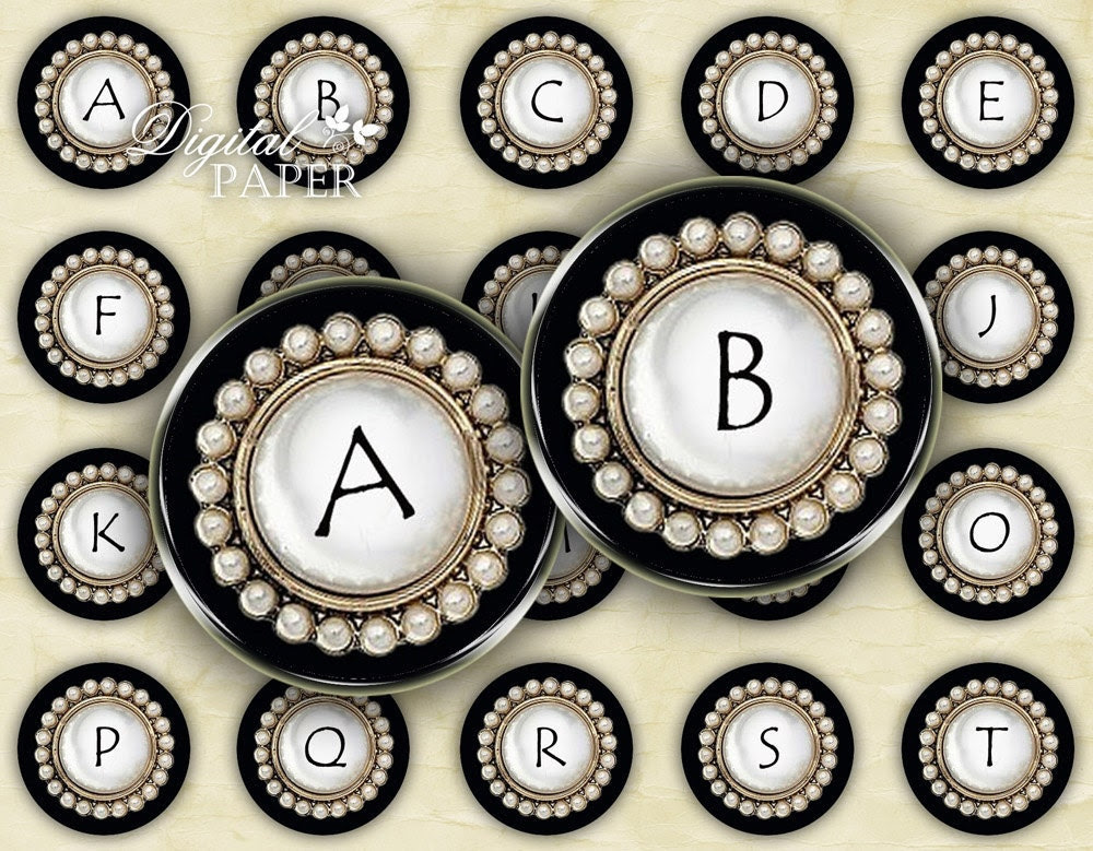 Black Button Alphabet - circles image - digital collage sheet - 1 x 1 inch - Printable Download