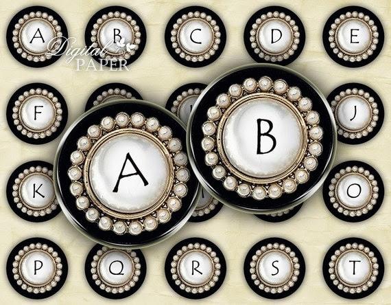 Black Button Alphabet - circles image - digital collage sheet - 1 x 1 inch - Printable Download