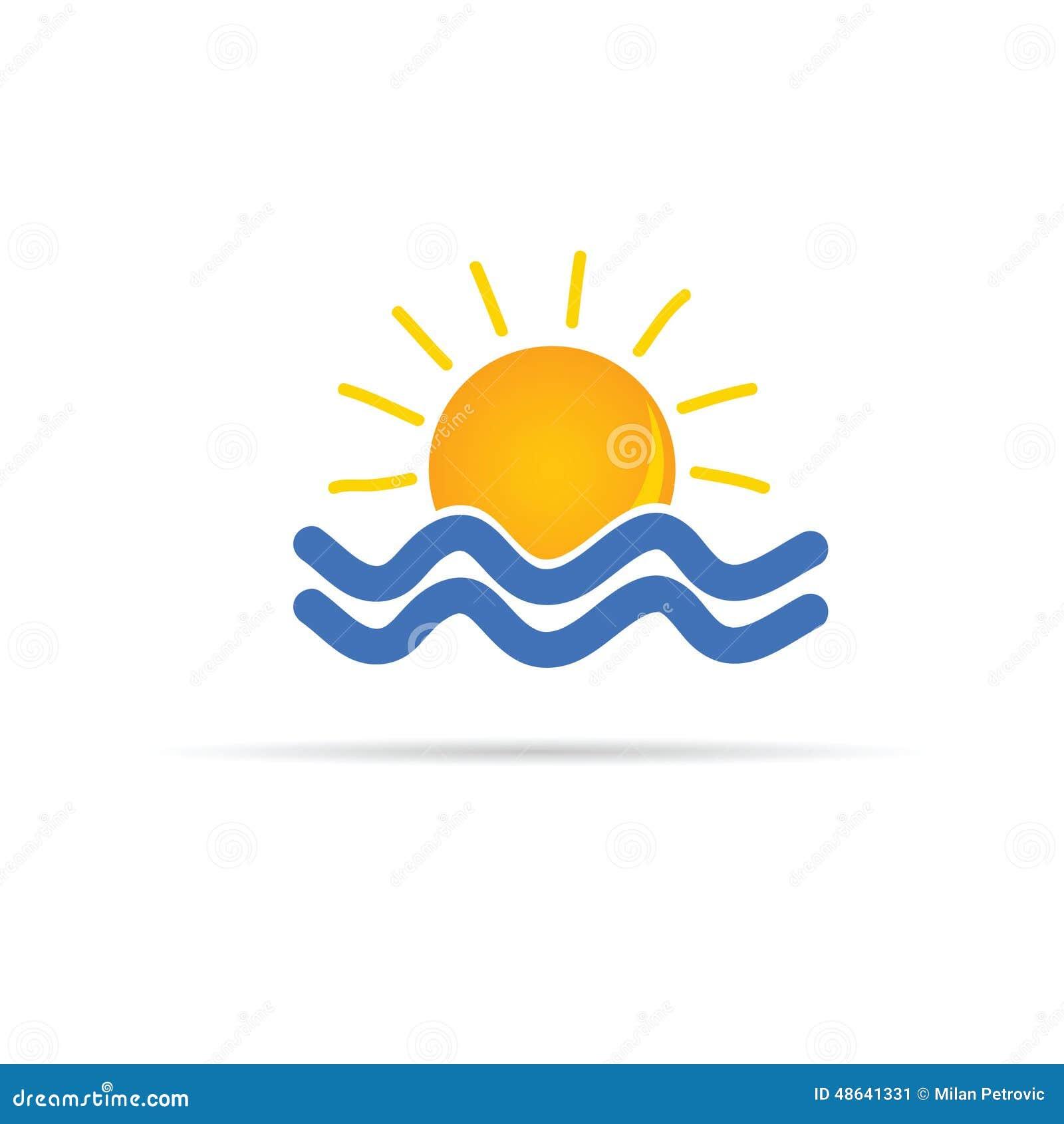 sun sea icon color vector illustration 48641331