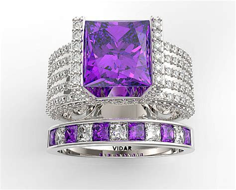Unique Princess Cut Purple Amethyst Wedding Ring Set