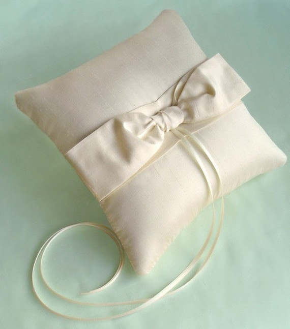 Silver Sash Bow Ring Bearer Pillow