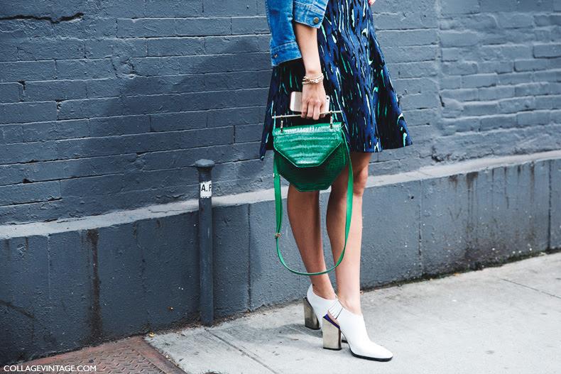 New_York_Fashion_Week_Spring_Summer_15-NYFW-Street_Style-m2malletier_Bag-White_Boots-Printed_Dress-Denim_Jacket-