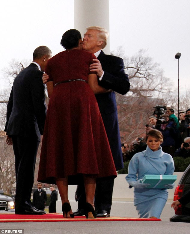 She pointed out that when the couple arrived to meet the Obamas, Donald exits the car and bounds up the stairs to greet Barack and Michelle, while leaving Melania to her own devices