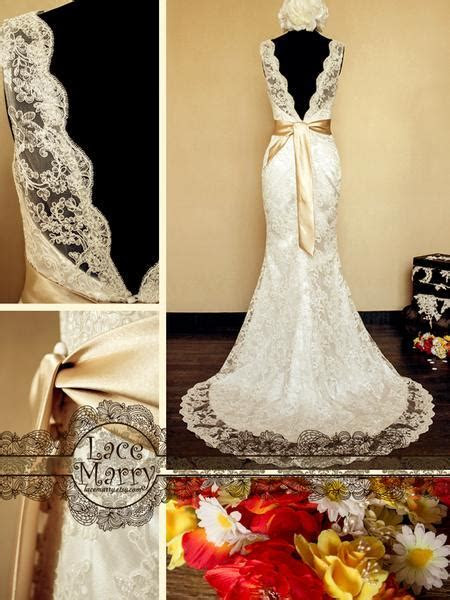Deep V Cut Back Vintage Style Lace Wedding Dress Features