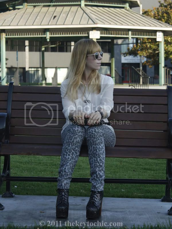 sheer Forever 21 blouse, leopard skinny jeans, Jeffrey Campbell glitter Lita, Los Angeles fashion blog