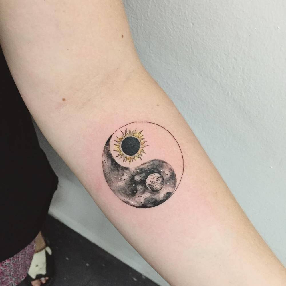 Yin Yang Sun And Moon Tattoos On Forearm