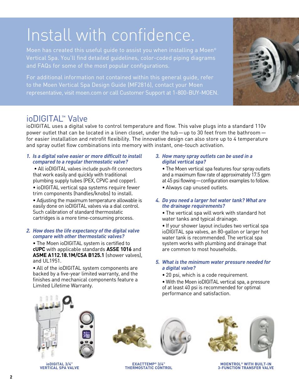 Install With Confidence Iodigital Valve Moen Vertical Spa Mf2816
