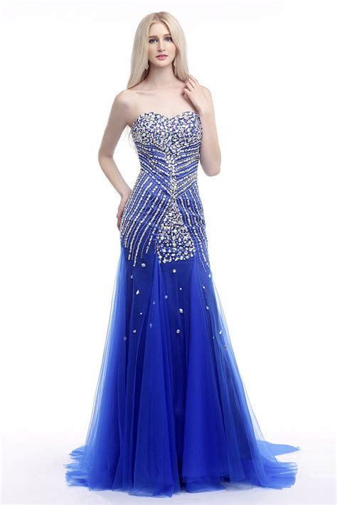 Elegant Fit And Flare Formal Dress Royal Blue With Shiny