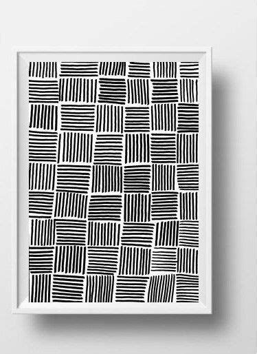 Line art Simple abstract Black and white Printable wall