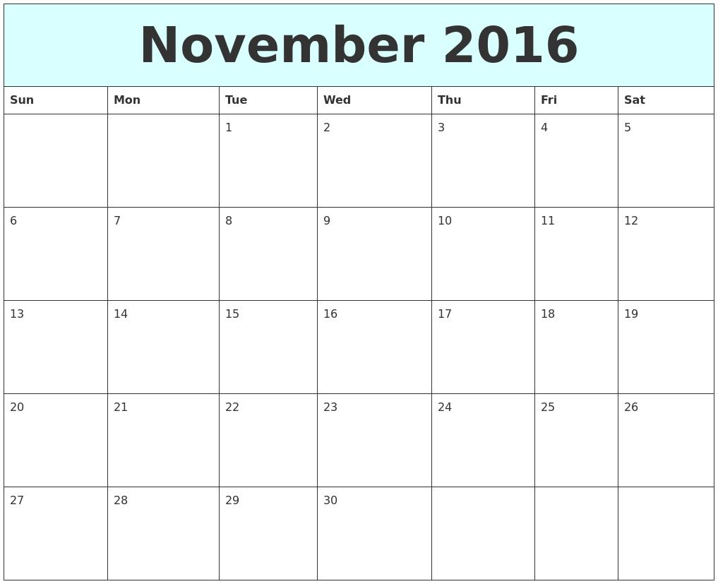 november 2016 free calendar