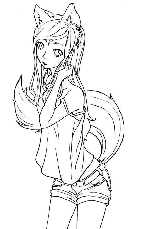 anime fox coloring pages cute anime chibi